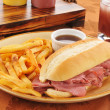 Roast beef sandwich with french fries - Stok fotoraf