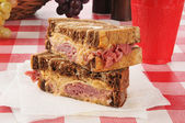 A reuben sandwich on a napkin — Stock Photo
