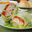 Turkey or chicken wrap with vegetable beef soup — Stock Photo