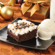 Stock Photo: Christmas brownie and ice cream