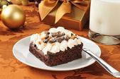 Brownie met pindakaas suikerglazuur — Stockfoto