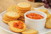 Crackers and bruschetta — Stock Photo