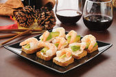 Shrimp avocado canapes — Stock Photo
