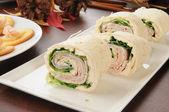 Ham and cheese pinwheels — Stock Photo