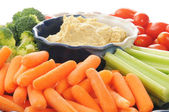 Vegetable platter with hummus — Stock Photo