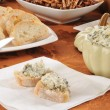 Spinach artichoke dip - Stock Photo