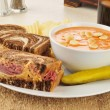 Reuben with tomato soup — Stock Photo