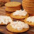 Cream cheese and crackers — Stockfoto #20937981