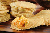 Gouda and Pimento Cheese Spread on Crackers — Stock Photo