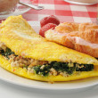 Spinach and feta cheese omelet — Stock Photo