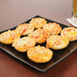 Mini pizza bagels — Stock Photo