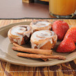 Cinnamon Rolls with strawberries — Stock Photo #22481345