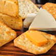 Stock Photo: Gourmet cheese and crackers