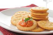 Bruschetta on crackers — Stock Photo