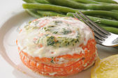 Closeup of stuffed salmon — Stock Photo