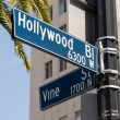 Hollywood and Vine street sign - Stock Photo
