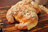 Almond croissants with custard filling — Stock Photo