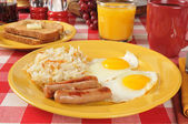 Sausage and eggs — Stock Photo