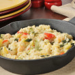 Stock Photo: Garlic Shrimp Risotto in Cast Iron Skillet