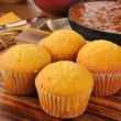 Cornbread muffins and chili — Stock Photo #26818875
