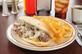 Philadelphia cheese steak sandwich — Stock Photo