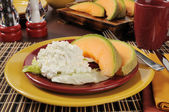 Cantaloupe and cottage cheese — Stock Photo