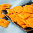 Cheddar cheese crackers — Stock Photo