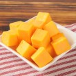Stock Photo: Cheddar cheese cubes