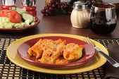 Pasta shells stuffed with ricotta cheese — Stock Photo