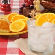 English muffins with orange marmalade and a spritzer — Stock Photo
