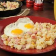 Ham eggs and hash browns — Stock Photo