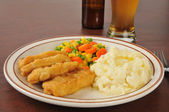 Beer battered chicken strips — Stock Photo