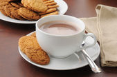 Hot chocolate and cookies — Stock Photo