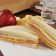 Bologna and cheese sandwich sack lunch — Stock Photo