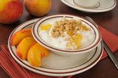 Griechischer joghurt mit pfirsichen und müsli — Stockfoto