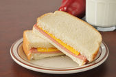Baloney and cheese sandwich — Stock Photo