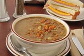 Lentil soup with a sandwich — Stock Photo