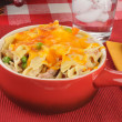 Tuna casserole in a stoneware crock — Stock Photo