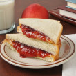 Peanut butter and jelly sandwich with school books — Photo