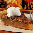 Pecan pie with whipped cream — Stock Photo