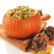 Stock Photo: Stuffing in pumpkin