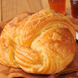 Golden croissant — Stock Photo