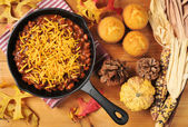 Chili in a cast iron skillet — Stock Photo