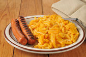 Macaroni with hot dogs — Stock Photo