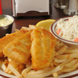Stock Photo: Fish and chips with coleslaw