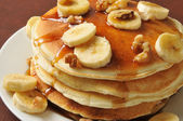 Banana nut pancakes closeup — Foto Stock