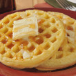 Hot buttered waffles — Stock Photo