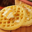 Waffles with maple syrup and butter — Stock Photo