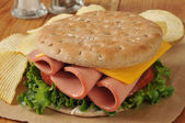 Baloney sandwich on thin round sandwich bread — Stock Photo
