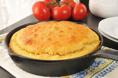 Cornbread in a cast iron skillet — Stock Photo